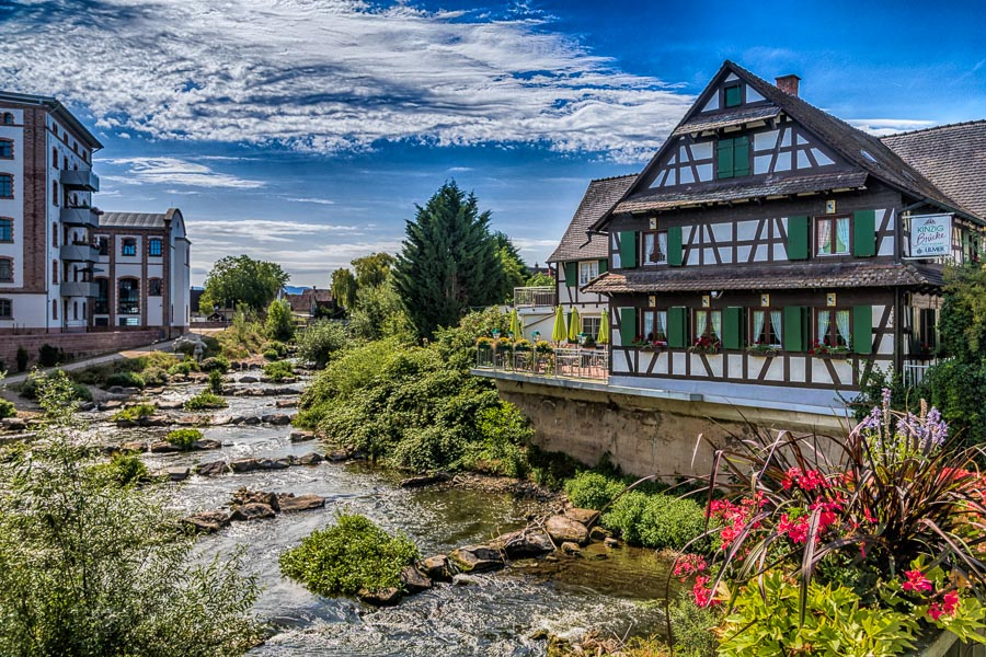 Kinzigbruecke, Willstaett, Restaurant, Gasthaus, Hanauerland, Ortenau, Rathaus, Kinzig, Mühlengebaeude